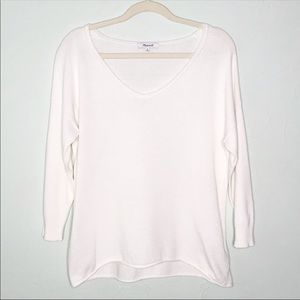 Madewell cream V neck 3/4 sleeve textured top
